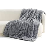 Bedsure Soft Fuzzy Faux Fur Sherpa Fleece Throw Blanket Grey- Warm Thick Fluffy Plush Cozy Reversible Shaggy Blanket for Sofa and Bed -Comfy Furry Blanket, Solid Gray, 60x80 inches