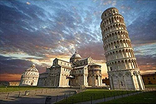 NC83 Torre inclinada de Pisa Building5D DIY diamante pintura completo diamante bordado pintura bordado 30 × 40 cm