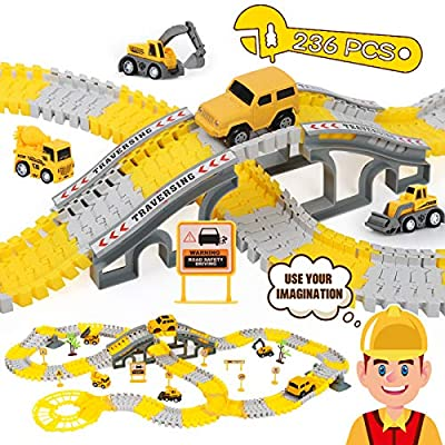 iHaHa 236PCS Construction Race Tracks for Kids Boys Toys, 6PCS Construction Car and Flexible Track Playset Create A Engineering Road Toys for 3 4 5 6 Year Old Boys Girls Best Gift from iHaHa