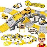 iHaHa 236PCS Construction Race Tracks for Kids Boys Toys, 6PCS Construction Car and Flexible Track...