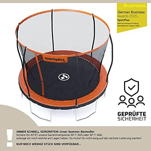SportPlus Gartentrampolin, TÜV GS geprüft, Sprungtuch ca. 366cm, schweißnahtfreie Rahmenkonstruktion, abnehmbares Sicherheitsnetz, inkl. Randabdeckung, Nutzergewicht bis 150kg