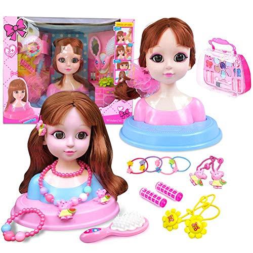 Puppenkopf mit Langen Haaren Puppenkopf Schminke kinder Mädchen Spielzeug Set Frisierkopf Schminkkopf zum Frisieren und Schminken Make-up Geschenkbox 20 Stück/Set