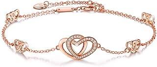 Womens 925 Sterling Silver Heart Love Anklet Bracelet Adjustable Large Bracelet, for Women Girls