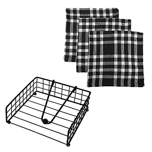 Servilleteros de mesa modernos cuadrado individual estilo nórdico e industrial incluye 3 servilletas de tela de regalo (100% algodón a cuadros negro, blanco 45 x 45 cm)