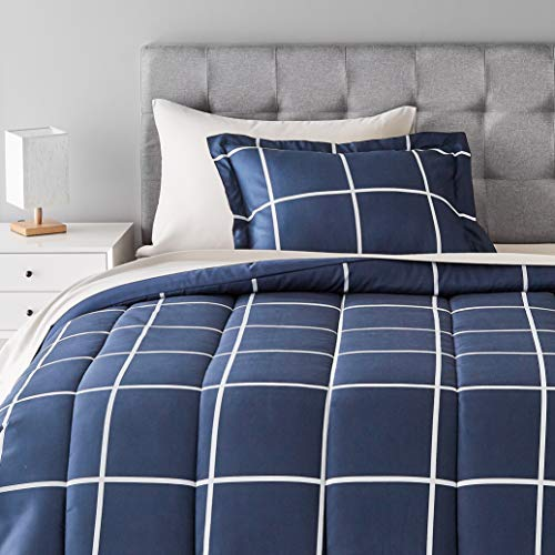 Amazon Basics 5-Piece Lightweight Microfiber Bed-In-A-Bag Comforter Bedding Set - Twin/Twin XL, Navy with Simple Plaid