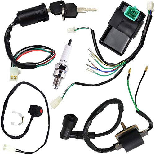 Mecotime Engine Wire Harness Wiring Loom CDI Ignition Coil Spark Plug Rebuild Kit for Dirt Pit Bike 50cc 70cc 90cc 110cc 125cc Stator CDI Coil ATV Quad Bike Buggy Go Kart