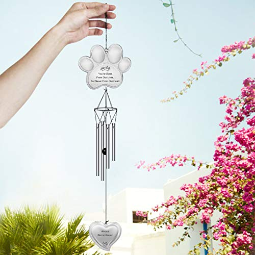 Sympathy Gift a Grieving Pet Owner 32H Paw Prints Pet Remembrance Wind Chimes CREATIVE DESIGN Pet Memorial Wind Chime