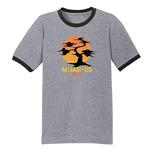 Karate Kid Miyagi-Do Dojo Bonsai Sunset Costume Grey/Black XL Graphic Tee Ringer T-Shirt