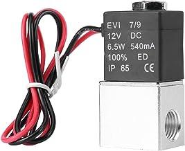 """Válvula solenóide, 12V DC 1/4""""2 vias normalmente fechada pneumática elétrica de alumínio Válvula solenóide de ar 1.2MPa, 2..."""