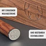 SCHWARTZHIRSCH® Excalibur – Das handgefertigte Kochmesser aus japanischem Damaststahl mit erlesenem Echtholz-Griff in exklusiver Walnußholz-Schatulle (20cm, Innovative Ergonomie, Geschenkverpackung) - 6