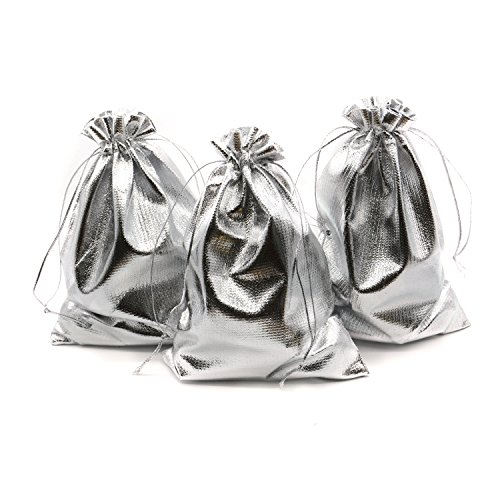 """BEAVO Pack of 100 5""""x 7"""" Heavy Duty Gold Drawstring Organza Jewelry Pouches Wedding Party Christmas Favor Gift Candy Chocolate Bags (5""""x 7"""", Silver)"""