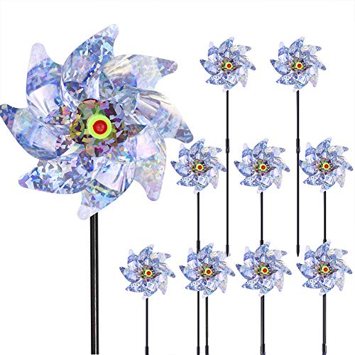 Bantie Bird Deterrent Repellent Pinwheels, 10PCS Reflective Bird Scarer...