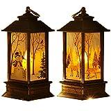 2 lanterne natalizie decorative natalizie vintage a LED, a forma di castello, a forma di neve, a forma di castello, luce bianca calda a batteria, per feste di Natale, decorazione da comodino