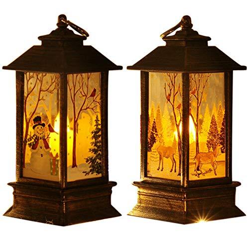 Mini-Laternen für Weihnachten, dekorative Lichter, Laternen, Vintage, zum Aufhängen, Schneemann/Elch, batteriebetrieben, LED-Licht, Innendekoration, Weihnachts-Kerzenlaternen, 2 Stück
