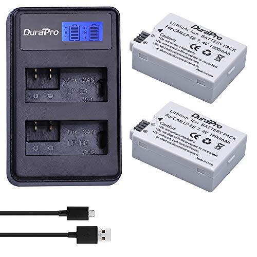 DuraPro 2Pcs LP-E8 Akku + LED USB Dual Ladegerät für Canon LP-E8; Canon EOS 550D, EOS 700D, EOS 600D, EOS 650D, Rebel T2i T3i T4i T5i, Kiss X4 X5 X6i X7i DSLR-Kameras