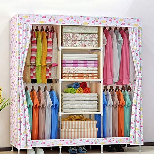 SHIBOHAN Aufbewahrungsregale Große Kapazität Vliesstoff Kleiderschrank Klappbar Tragbar DIY Kleiderschrank Kleideraufbewahrung Schrank Schrank Home Möbel (Color : Red Flower, Size : A)
