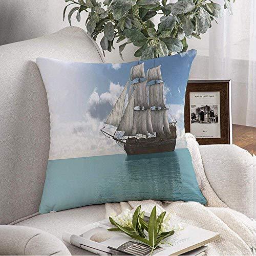 Throw Pillow Cover Speed Vessel Boating Ship Horizonte tropical Parques románticos Diseño al aire libre Deporte Marinero Transporte Cojines decorativos Funda para sofá Sofá Dormitorio Ropa de cama p