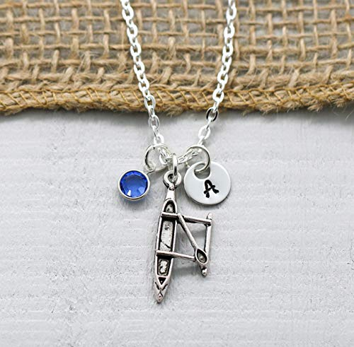 Kayak Necklace for Women - Personalized Initial & Birthstone - Kayak Lover Gifts for Kayaker - Camping Theme Jewelry for Girls