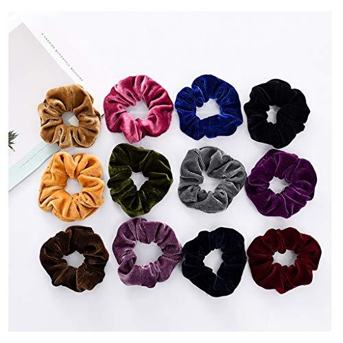 Momola 12 Pack Scrunchies Chouchous Cheveux,Cheveux Cordes Velours Élastique Chouchous Velvet Multicolore Chouchou Girl pour Bandeaux Femme