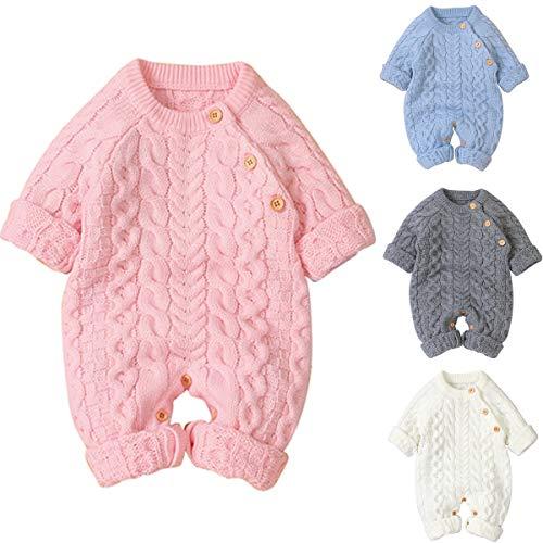 Tianhaik Baby Footies Stricken Strampler Overall Langarm Outwear Outfits Pullover Overall Winter Stricken Strampler Kleidung für 0-18m Babys