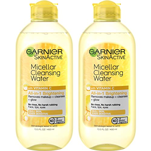Garnier SkinActive Micellar Cleansing Water with Vitamin C, to Cleanse Skin, Remove Makeup, and Brighten Dull Skin, 2 Count (Packaging May Vary)