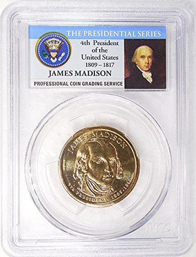 2007 D Pos. A James Madison Presidential Dollar PCGS MS 65 FDI Presidential Label Holder