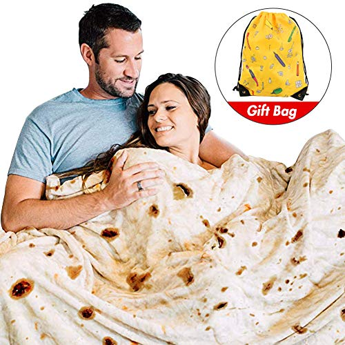 Freesooth Burritos Tortilla Blanket Tortilla Throw Blanket Realistic Food Blanket Soft Plush Round Funny Blanket for Bed,Couch or Travel