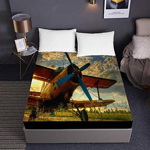 Bedclothes-Blanket Flygplan tryckta resårlakan för enkelsäng dubbelsäng med king size-säng 3D-lakan djup ficka 30 cm – mjuk mikrofiber Easy Care Shrinkage Fade-150 x 200 x 30 cm_3