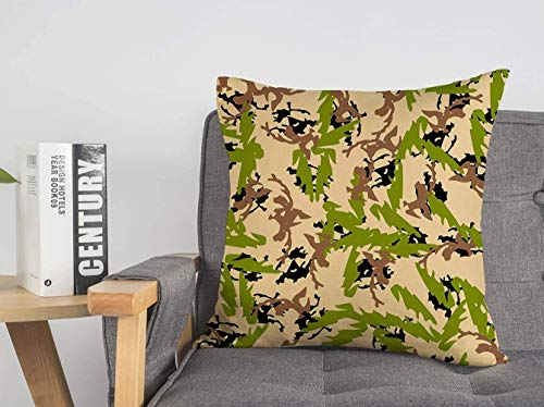 LREFON 18' 2pcs Square Throw Pillowslip Forest Camouflage Various Camo Shades Disguise Beige Camoflauge Black Graphic Abstract As Soft Skin-Friendly Pillowcase for Couch Sofa