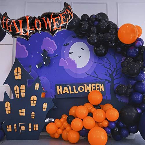 Halloween Balloon Garland Arch 123 Pieces with Large Bat Balloon Spider Web for Party ( Black Orange Purple )