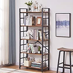 OIAHOMY Industrial Bookshelf,5-Tier Vintage Bookcase and Bookshelves,Rustic Wood and Metal Shelving Unit,Display Rack and Storage Organizer for Living Room, Rustic Brown