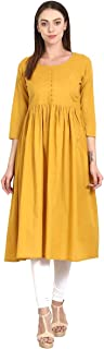 RADANYA Women's Designer Kurti Stylish Cotton Knee Length Blouse Shirt Long Dress S-XXL