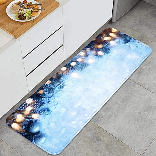AndrewTop Cocina Antideslizante Alfombras de pie Cuento de Hadas Fondo de Navidad Cristales de Hielo Decoración de Piso Confortables para el hogar, Fregadero, lavandería-120cm x 45cm