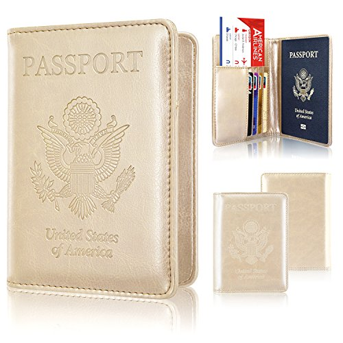 Passport Holder Case, ACdream Protective Premium Leather Wallet Case for Passport, Gold