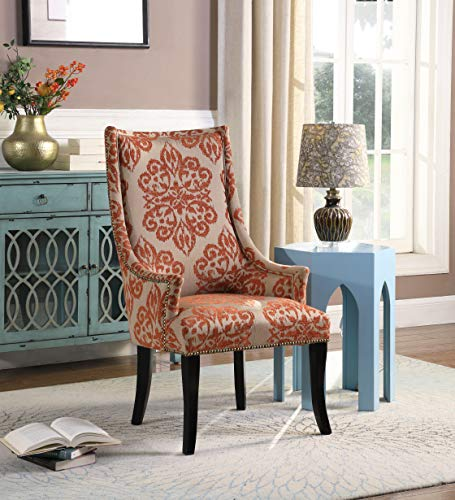 Best Master Furniture Audrey Orange Floral Fabric Living Room Accent Chair