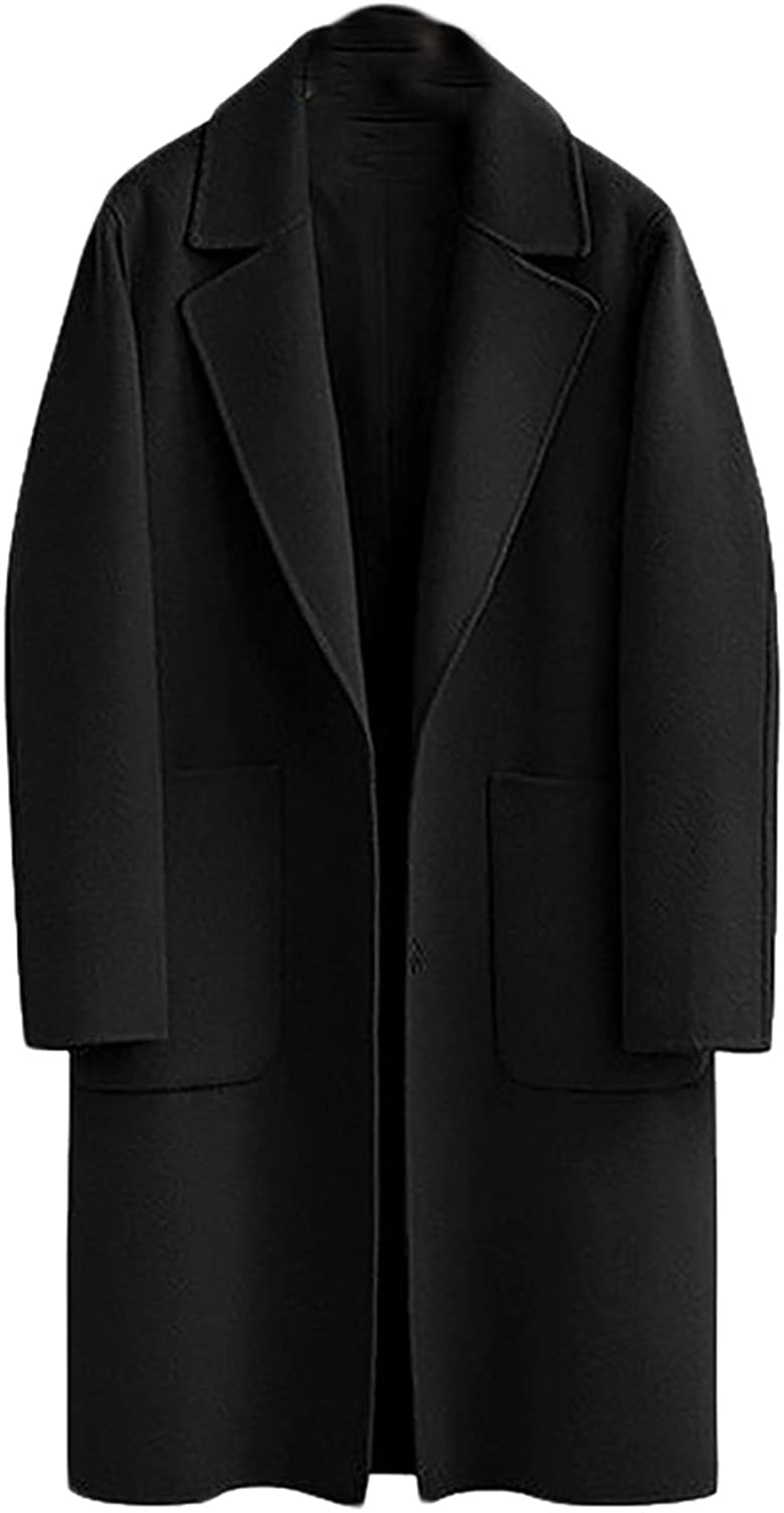 Pivaconis Women's Plus Size Single Breasted WoolBlend Trench Pea Coat