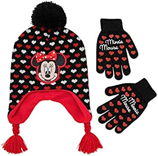 Disney Little Girls Minnie Mouse Character Hat and Glove Cold Weather Set, Black/Red, Age 4-7