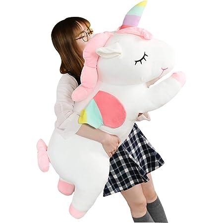 AIXINI ぬいぐるみ ユニコーン 抱き枕、昼寝クッション 縫いぐるみ 癒し 動物、可愛いかわいい柔らかい人形枕、子供のためのギフト (80cm,ホワイト)