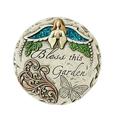 Comfy Hour Seed Soil and Yard Collection Angel Bless This Garden Stepping Stone, Concrete
