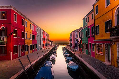 Wall Art Print on Canvas(32x21 inches)- Venice Italy Burano Island Buildings Colors Boats