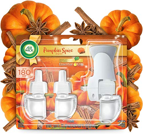 Air Wick Plug in Scented Oil Starter Kit + 3 Refills, Pumpkin Spice, Fall Scent, Fall Spray, (3x0.67oz), Essential Oils, Air Freshener