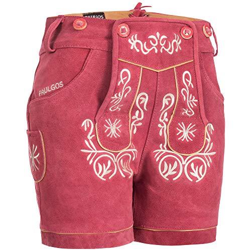 PAULGOS Damen Trachten Lederhose + Träger, Echtes Leder, Kurz in 8 Farben Gr. 34-50 M2, Damen Größe:38, Farbe:Pink