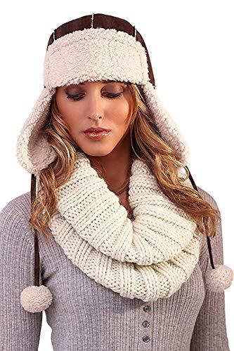 Boutique - Ensemble bonnet, écharpe et gants - Homme - - Womens - Brown Sherpa, Taille Unique