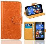 Microsoft Lumia 535 Handy Tasche, FoneExpert® Wallet Hülle Flip Cover Hüllen Etui Ledertasche Lederhülle Premium Schutzhülle für Microsoft Lumia 535 (Wallet Orange)