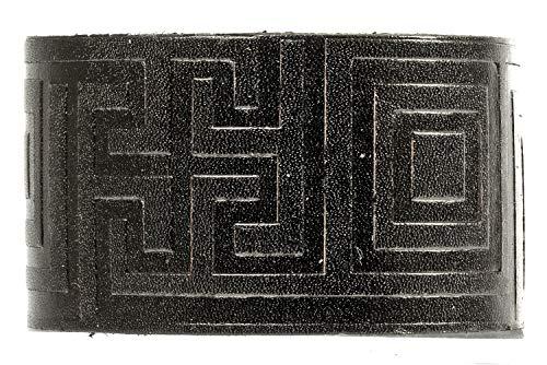 Evil Wear Premium Leder-Armband Gothic Punk Muster Echtlederarmband für Männer in Schwarz