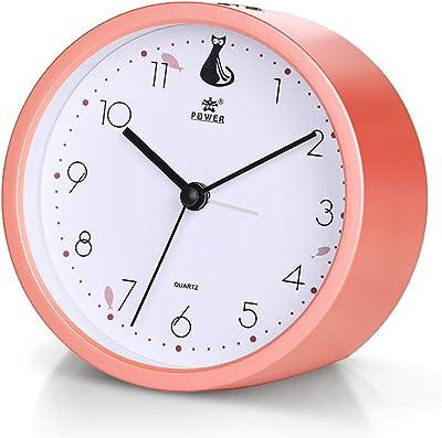 Aelfox 目覚まし時計 アナログ かわいい 非電波 音無し 置き時計 アナログ 連続秒針 電池式 スヌーズ 照明ライ(コーラル)