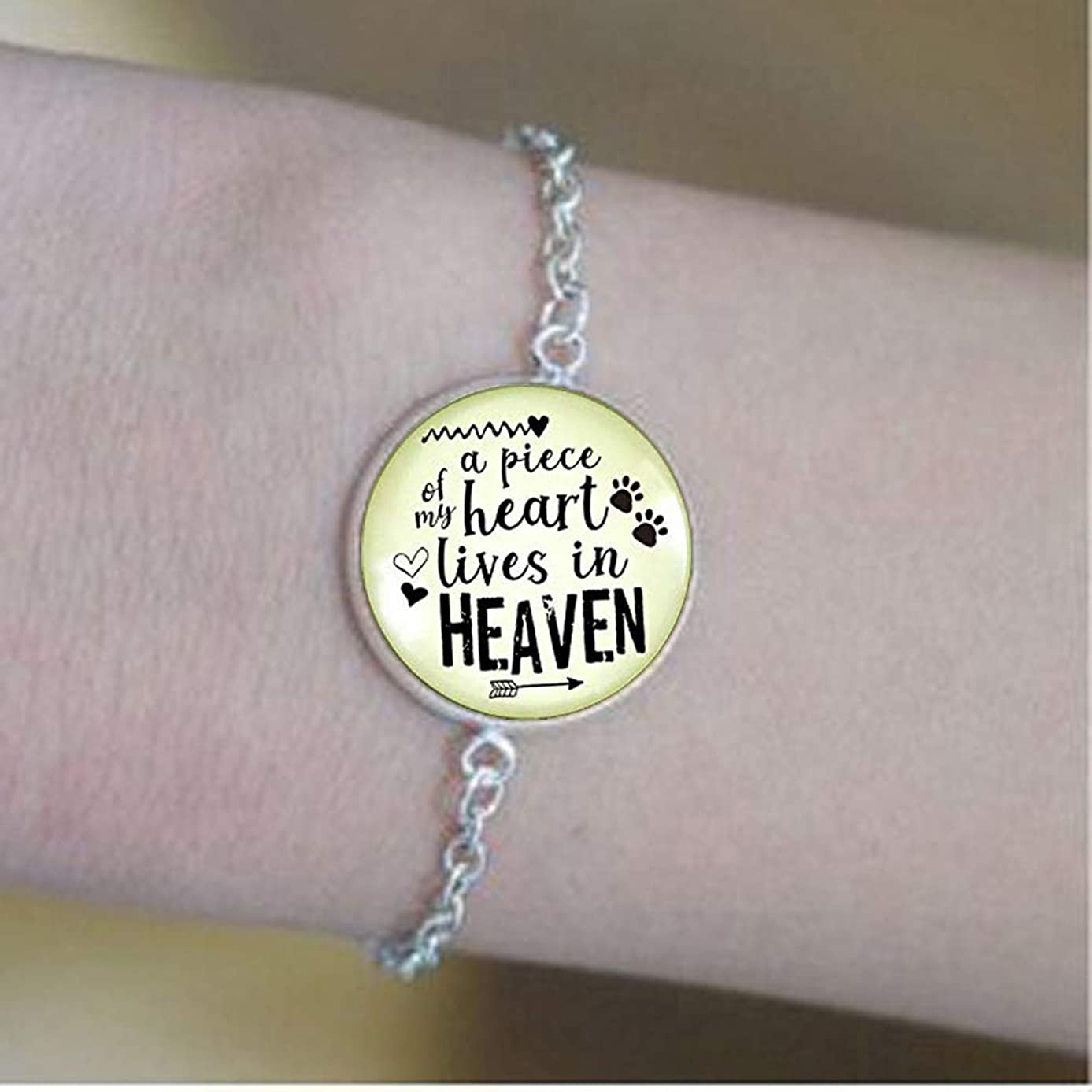 Pet Memorial Keychain A Piece Of My Heart Gift Angel Wing Paw Charm Cat Dog Remembrance Jewelry For Women Bracelets