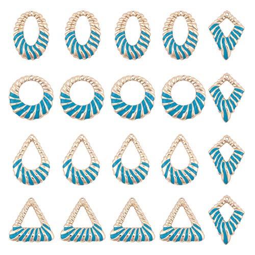 SUNNYCLUE 1 Caja 20PCS 5 Formas Colgantes Esmaltados, Chapado En Oro Acero Claro Triángulo Azul Redondo Formas Ovaladas Esmalte Encantos Geométricos Colgantes para Mujeres Fabricación de Joyas Collar