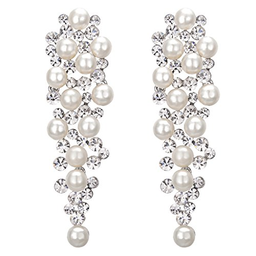 Clearine Mujer Boda Nupical Cristal Simulated Pearl Multi Beaded Cluster Chandelier Dangle Pendientes