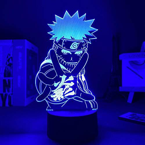 Lámpara de sueño LED 3D Anime NarutoUSB Luz u oficina decorativa con batería 7 colores Regalos de vacaciones de cumpleaños para niños-16 color remote control